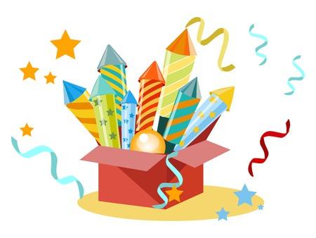 Scatola con fuochi d'artificio, petardi. Impostare per la vacanza. In stile minimalista. Illustrazione vettoriale isometrica piatta