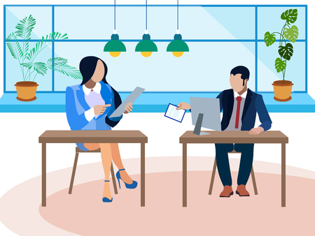 Debate, dispute in the office. Two opponents ask questions. In minimalist style. Flat isometric vector illustration