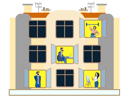 People in the windows of an apartment building day. Doing household chores. In minimalist style. Flat isometric vector Иллюстрация