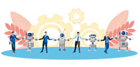 Metaphor of friendship, cooperation of people and technology. Chain of human and robots. In minimalist style. Flat isometric vector illustration