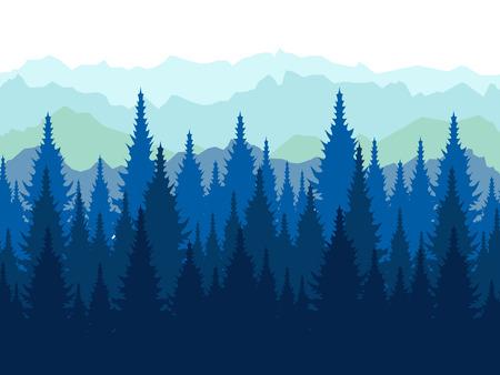 Landschaft, Spitzen von Nadelbäumen. Papierwald. Im minimalistischen Stil Cartoon flache Vektor-Illustration Vektorgrafik