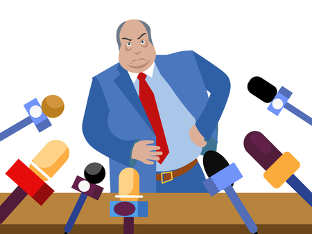 Bad politician, corrupt official gives interviews to journalists. In minimalist style. Flat isometric vector illustration isolated on white background Ilustração