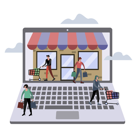 Online store shopping metaphor. Web shop business. Flat style. Cartoon vector illustration Vectores
