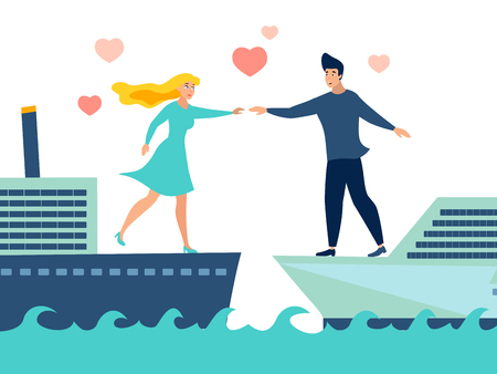 Guy and girl try to reach each other with their hands while standing on different ships. Huge love metaphor. Flat style. Cartoon vector illustration Illustration