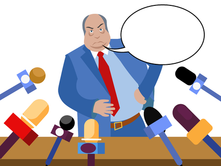 Bad politician, corrupt official gives interviews to journalists. In minimalist style. Flat isometric vector illustration isolated on white background text bubble
