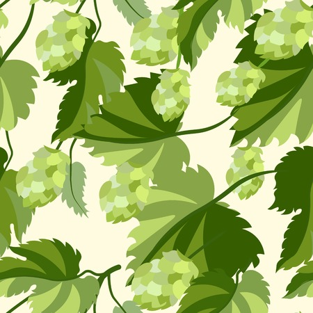 Plant hop. Seamless background. In minimalist style. Flat isometric vector illustration