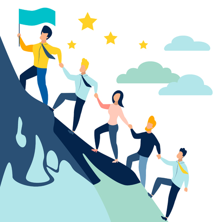 leader leads office staff, colleagues uphill. Purpose for the goal. In minimalist style. Cartoon flat Vector Illustration Illustration