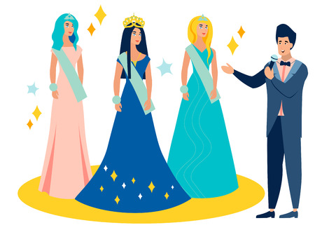 Beauty contest. Young female model at the crown award. In minimalist style Cartoon flat Vector Illustration