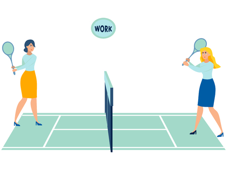 Office workers play tennis. Throwing work. In minimalist style Cartoon flat Vector Illustration