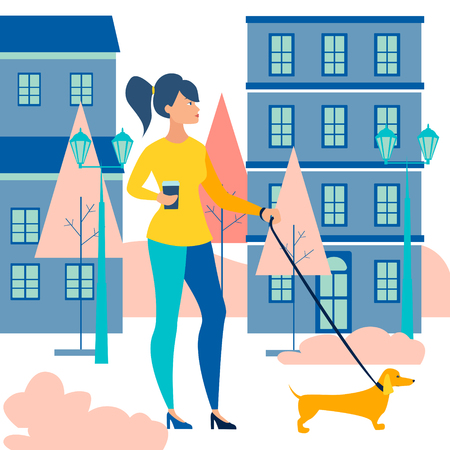 Woman walking a dog, dachshund. Walk with a coffee in the morning. In minimalist style Cartoon flat Vector