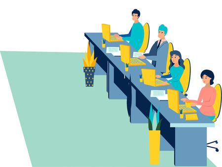 Selection committee. The interior of the office isolated on white background. Flat style. Cartoon vector illustration. Vektoros illusztráció