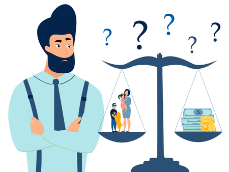 A man chooses between family and work. Scales of choice. Flat style. Cartoon vector illustration  イラスト・ベクター素材