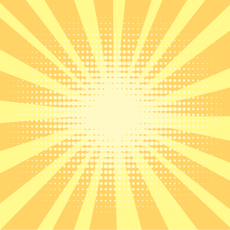 Pop art background, orange. rays of the sun are yellow and circles. Retro style, comic emulation. Procurement for a magazine, a poster or a newspaper. Imagens