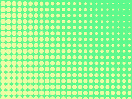 Pop art background, the green color turns into yellow. Circles, balls of different shapes. Raster