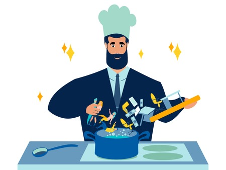 Cook businessman prepares business. recipe from ingredients for income and profits. In minimalist style. Cartoon flat Vector