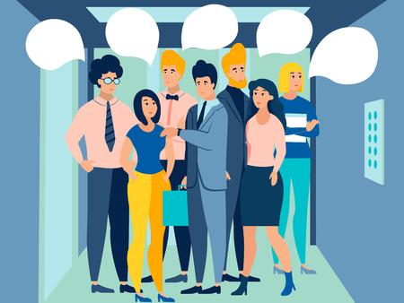 Les gens dans l'ascenseur vont travailler. Texte de bulle pour la conversation. Dans un style minimaliste. Illustration vectorielle plane de dessin animé