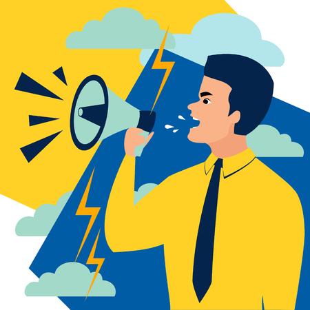 A man shouts in a megaphone. In minimalist style. Cartoon flat Vector