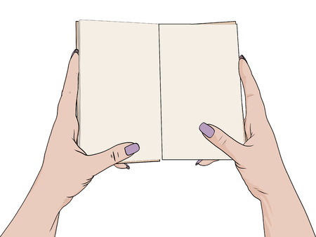 Female hands hold an open notebook. Blank for notes, diary. Drawing, the object is isolated on a white background. Vector illustration