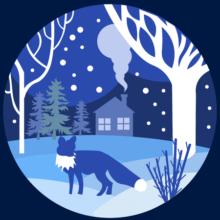 Paper art, cut and craft style of forest wildlife with nature background layers as Saving the world with ecology. Vector illustration. Fox walks in winter, blue.