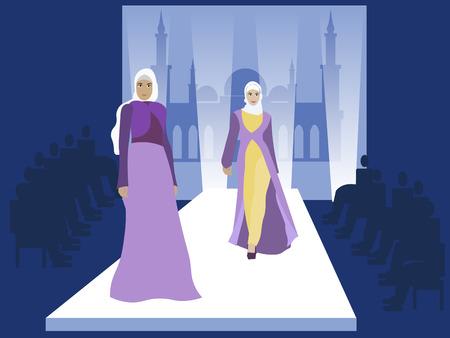 Fashion show. Muslim women models. Vogue industry. In minimalist style. Cartoon flat Vector Illustration