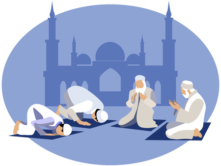Man pray, prayer in islam. In minimalist style. Cartoon flat Vector