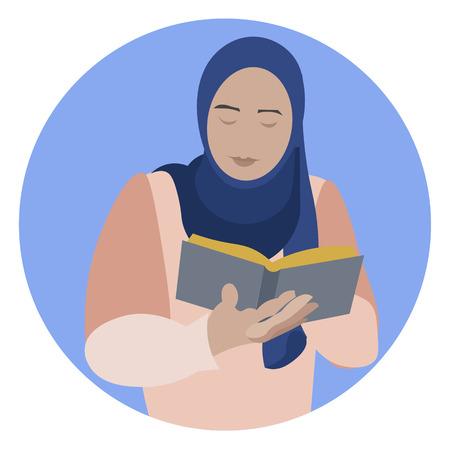 Muslimische Frau, die das heilige islamische Buch Koran liest. Das Recht der Frauen auf Bildung. Im minimalistischen Stil. Flache Vektorillustration der Karikatur Vektorgrafik