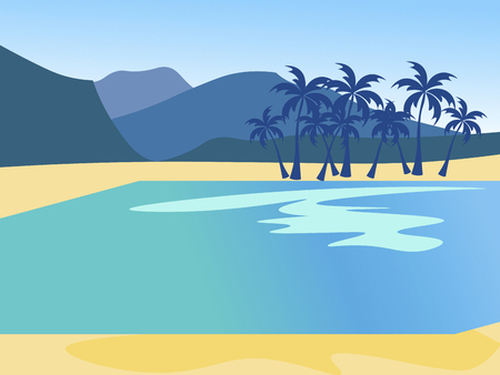 Vacation background, island nature, beach. In minimalist style Cartoon flat Vector Illustration  イラスト・ベクター素材