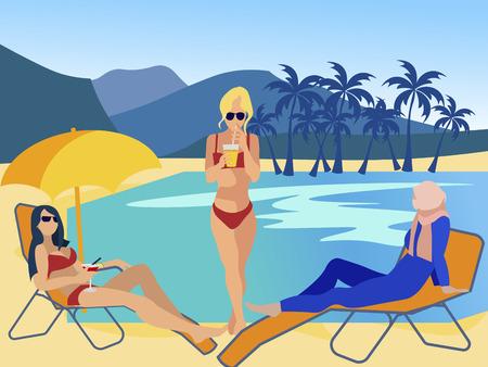 Muzułmańskie i europejskie kobiety na plaży. Wakacje różnych religii. W minimalistycznym stylu Cartoon płaskie wektor
