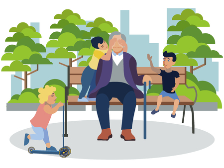 Grandfather playing with grandchildren in the park. In minimalist style Cartoon flat Vector Illustration