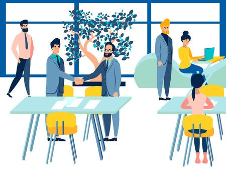 Work process in company office. Meeting on business talking. Flat style. Cartoon vector illustration Illustration