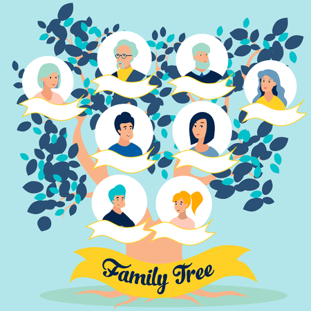 Family tree, photos of relatives, generations. In minimalist style Cartoon flat Vector Vettoriali
