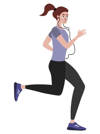 Atleta, mujer a la carrera. En Vector plano de dibujos animados de estilo minimalista, aislado sobre fondo blanco