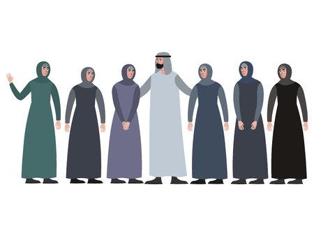 Muslim family, man with a harem. In minimalist style Cartoon flat Vector, isolated on white background Vetores