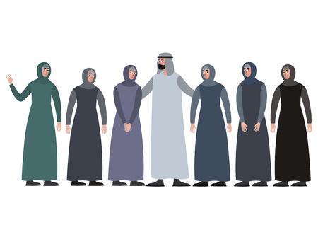 Muslimische Familie, Mann mit Harem. Im minimalistischen Stil Cartoon flacher Vektor, isoliert auf weißem Hintergrund Vektorgrafik