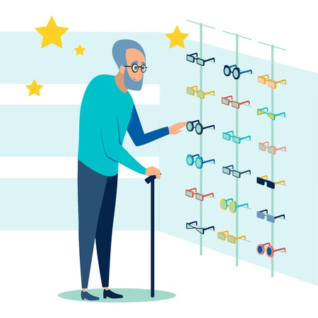 The pensioner chooses, picks up glasses for sight. Ophthalmology store. In minimalist style Cartoon flat Vector