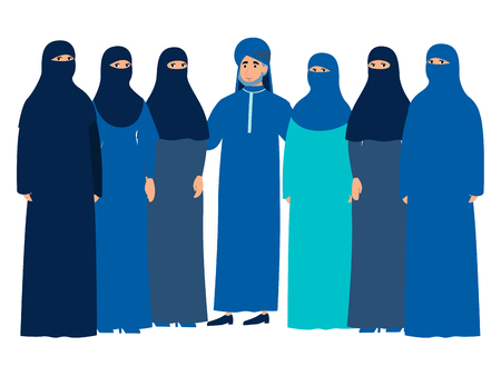 Muslim family, man with a harem. In minimalist style Cartoon flat Vector, isolated on white background