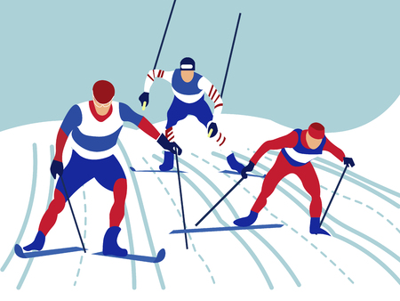 Alpine skiing. In minimalist style Cartoon flat Vector Banque d'images - 125191950