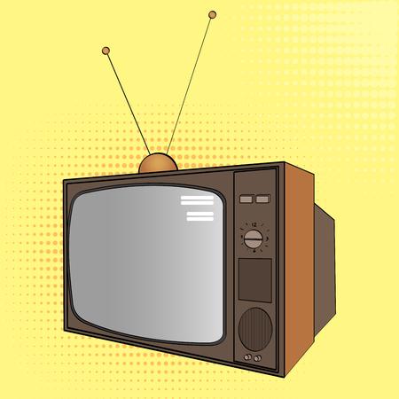 Pop art background. Electronic equipment, old TV. Imitation of comics style. Raster Banco de Imagens