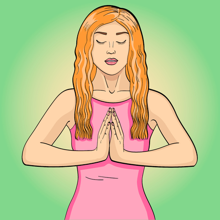 Raster illustration of a young brunette girl doing yoga in the lotus position in pop art style Stok Fotoğraf