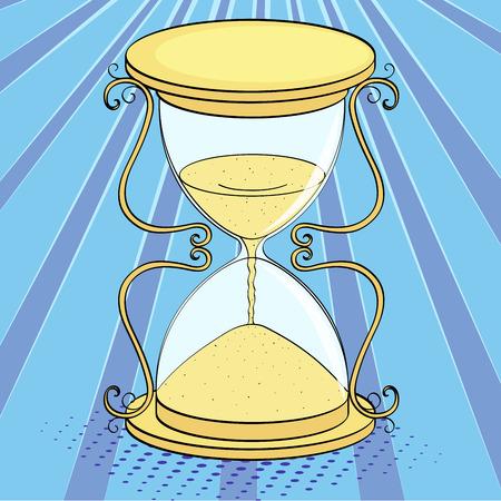 Pop art background, imitation of comics. Hourglass, time. Raster