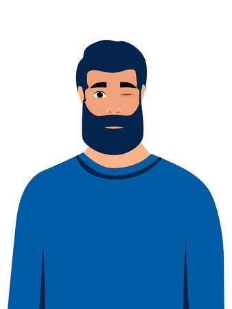 A man without eyes, disabled. Vision problem. In minimalist style Cartoon flat Vector