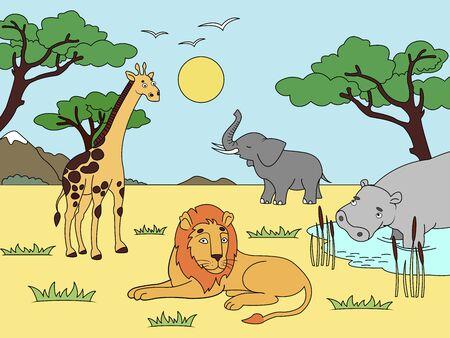 Children drawing. Animals of Africa, mainland mammals, zoo. Raster