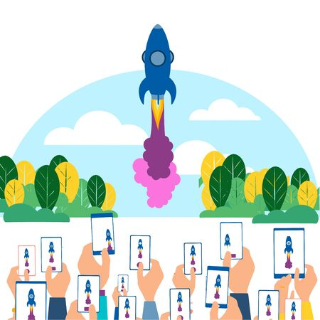 People take pictures on the gadgets taking off the spacecraft, flat rocket. In minimalist style. Cartoon