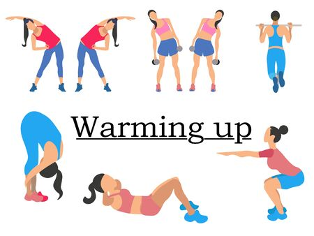 Stages warm up. Sport for health, clearly shows the girl. In minimalist style. Cartoon flat raster