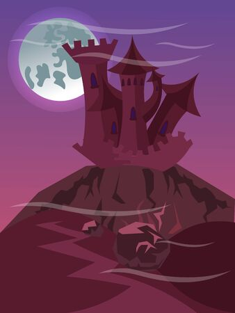Fabulous castle on cliff vector illustration flat