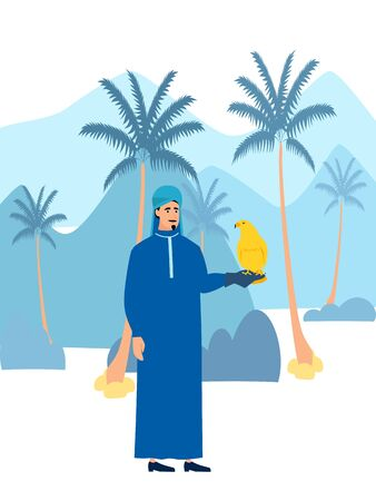 Arab men pet bird, falcon. In minimalist style Cartoon flat vector Illustration