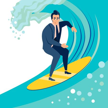 Businessman, a man catches a wave on a surf board. In minimalist style. Cartoon flat vector