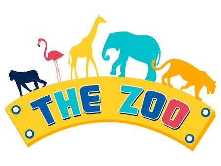 Logo, plate, pointer zoo. Animals on the text. In minimalist style. Cartoon flat Vector