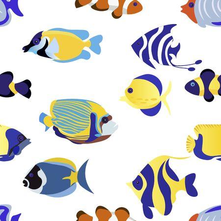 Seamless background. Exotic Fish Set animal vector illustration flat