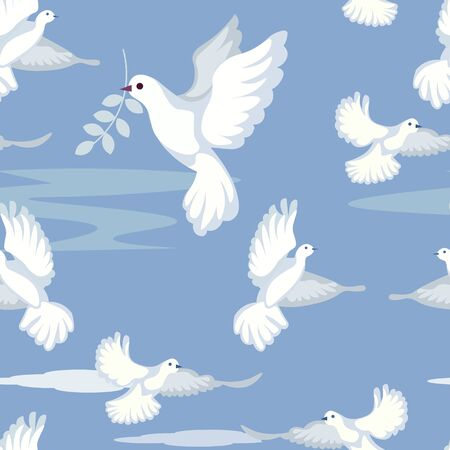 Seamless gentle background. Dove, peace sign, carries a sprig of olive. In minimalist style. Cartoon flat vector Vectores